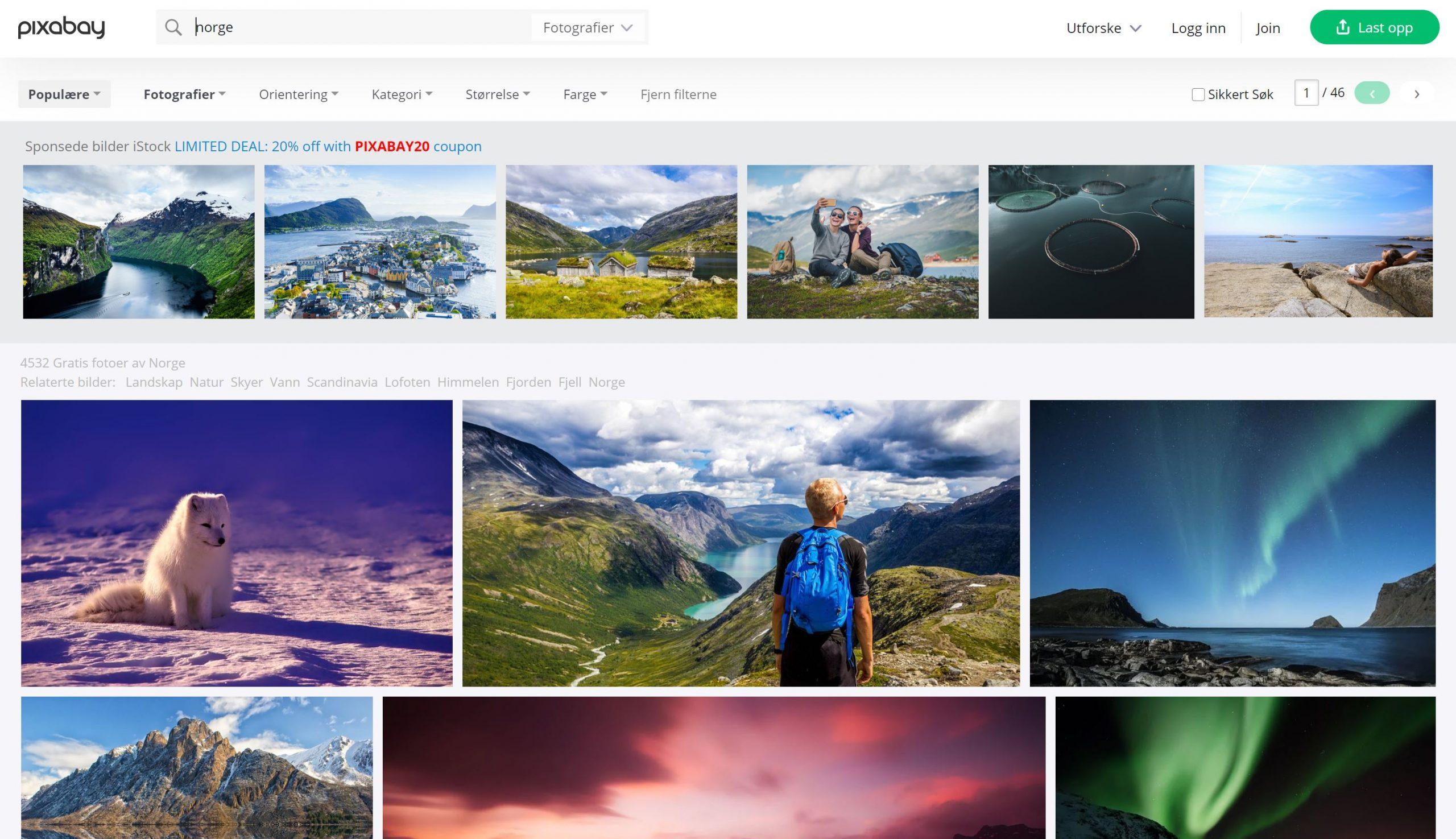 Pixabay forside med søk på bilder fra Norge